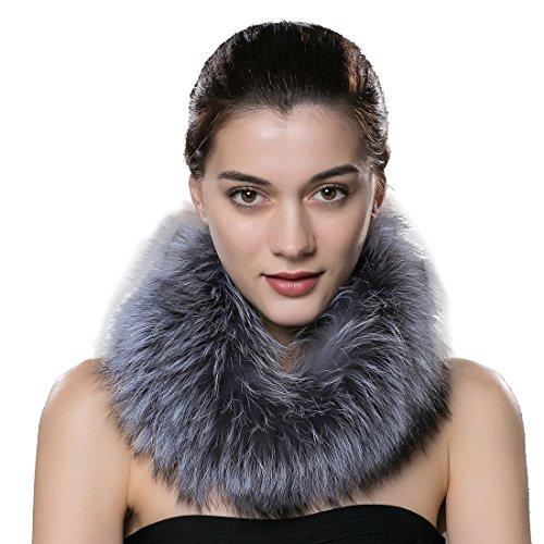 URSFUR Scaldacollo da donna in vera pelliccia di volpe e fucsia argentata Colore naturale. Taglia unica