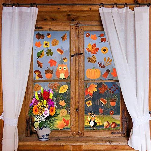 Hamkaw Herbst Fensterbilder, Herbstblätter Fensterbilder Abziehbilder Verschiedene Ahornblätter Eicheln Fensteraufkleber für Herbst Erntedankfest Glasfensterdekorationen 5,9 x 11,8 Inch