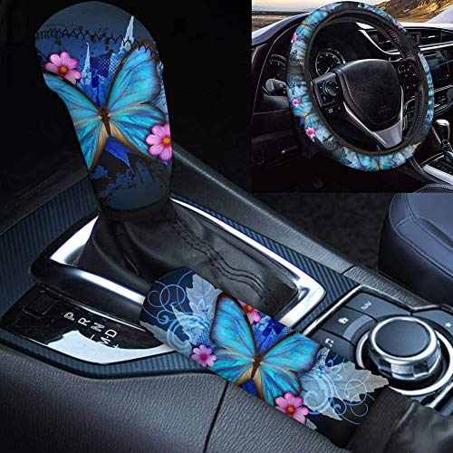 Woisttop Juego de accesorios para coche, funda de volante de mariposa para mujer, ajuste universal de 35 a 38 cm, con cubierta de freno de mano, cambio de marchas, decoración del coche