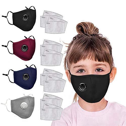 SeraISL 4 Piezas Niños Protección con 16 Piezas Filtros de repuesto, Lavable reutilizable 𝐌Á𝐒𝐂𝐀𝐑𝐈𝐋𝐋𝐀 Con Orejeras ajustables Tapa Boca a prueba de polvo exteriores protectora ᴍásᴄᴀʀᴀ