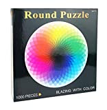 1000 Pieces Color Challenge Rainbow Palette Jigsaw Puzzle,Round Shape Jigsaw Puzzle for Adults and Kids,Large Finished Size 27.56 x 19.69 inches