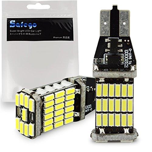 Lot de 2 Lampes Feux Recul Phare 912 921 T10 T15 W16W LED 1000 Lumens extrêmement lumineux Canbus sans erreur 4014 45-SMD Chipsets Ampoules LED pour lampes inverse sauvegarde blanc xénon 6000K