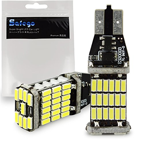 Safego 2x 1000 lúmenes T15 W16W CANBUS Libre De Errores 921 912 4014 45 de BT de Chipsets bombillas LED para luces de copia de seguridad inversa Xenon Blanca 6000K Backup de peras de luz trasera