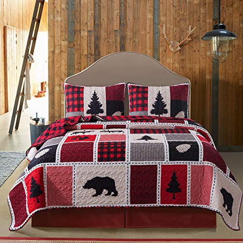 Soul & Lane Into The Woods Bedding Quilt Set - Queen with 2 Shams | Christmas Buffalo Check Plaid Lightweight Quilted Bedspread