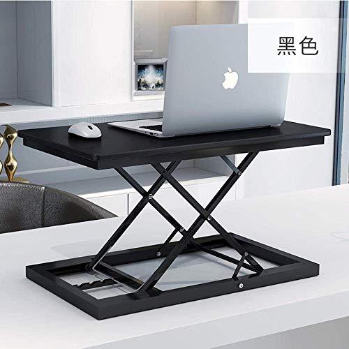 STZYY Sit stand desk work space,Adjustable Computer Standing Desk Movable w/Wheels, Standing computer desk, desktop computer desk, foldable notebook desk,-Black-multiple gears