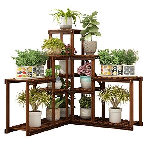 Scaffali porta piante Portavasi Espositore per Fiori Decorazione per balconi Interni a più Piani mensola angolare espositore per Vaso Verde da Salotto (Color : Brown, Size : 155 * 90cm)