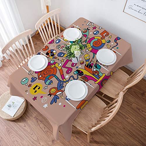 Nappe de Table Rectangulaire Anti Taches,Drôle, sous-marin avec des notes de musique colorées Harmony Bloom ,Nappe Protection de Table en Tissu Coton et Lin Imperméable pour Table à Manger, 140x200 cm