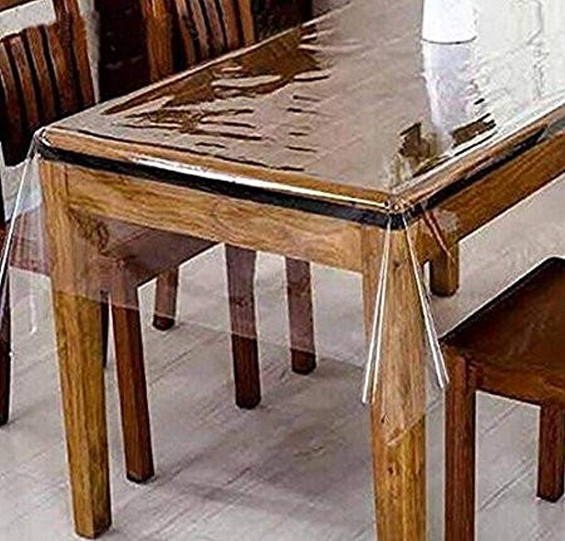 DiamondHome Clear Transparent Tablecloth Heavy Duty Kitchen Table TOP Cover Water Proof Hard Plastic Vinyl Spills Protector 60 X 90