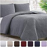 Mellanni Bedspread Coverlet Set Charcoal - Comforter Bedding Cover - Oversized 3-Piece Quilt Set (Full/Queen, Gray)