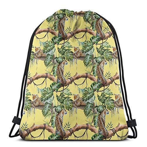 Drawstring Tote Bag gymnastiekzak, luipaard in jungle Tropische zaag bomen en blaaves, zeer hoogwaardig, voor volwassenen en kinderen