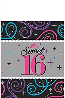 Plastic Table Cover | Sweet Sixteen Celebration Collection | Birthday