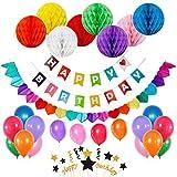 Juego de banderines de fiesta de cumpleaños con 8 bolas de papel de panal, 20...