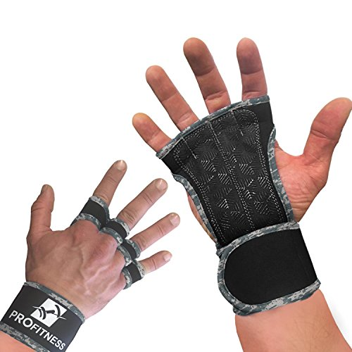 ProFitness Neoprene Workout Gloves with Silicone Non-Slip Grip – WODs, Weightlifting, Cross Training – Wrist Strap Support – Unisex for Men and Women (Camo, X-Small)