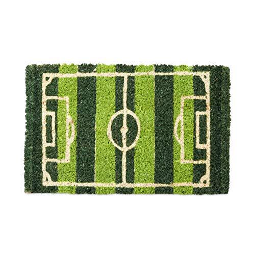 Relaxdays – Felpudo en Miniatura para niños, 1.5 x 40 x 25 cm, Fibra de Coco y PVC, Antideslizante, Motivo: Campo de Futbol