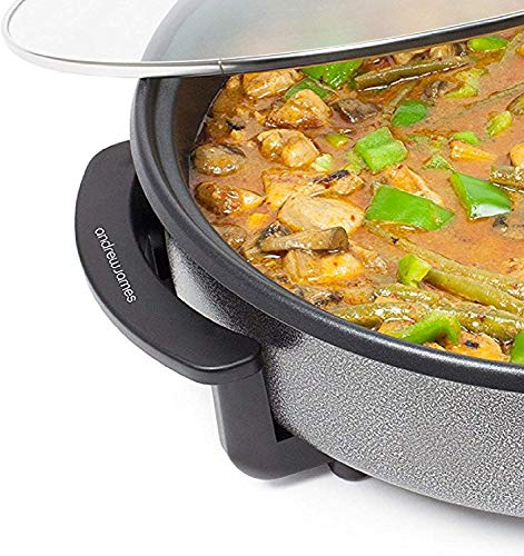 Andrew James Multi Camping Cooker with Glass Lid | 42cm Portable Electric 1500W Adjustable Heat Settings up to 240°C | Non Stick and Lightweight with Cool Touch Handles and Detachable Power Cord