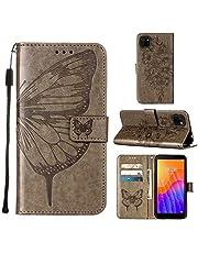 WJMWF Compatible con Funda Huawei Y5P 2020 Mariposa Volador Patrón Relieve PU Cuero Wallet [Cierres Magnéticos] [Ranuras para Tarjetas] [Soporte Plegable] Anti-Shock Caso-Gris