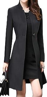 desolateness Women's Stylish Single Breasted Jacket Wool Blend Pea Coat Overcoats
