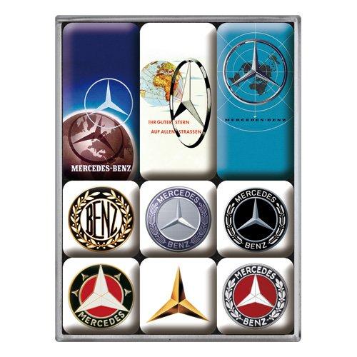 Nostalgic-Art 83103 Mercedes-Benz-Logo Evolution | Retro Set (9teilig) | Kühlschrank Vintage Magnete, Kunststoff, Bunt, 7 x 9.3 x 2 cm