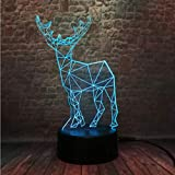 Luz Nocturna Creative 3D Elk Deer 7 Color Gradient Dimming Night Light Dormitorio Sleeping Child...
