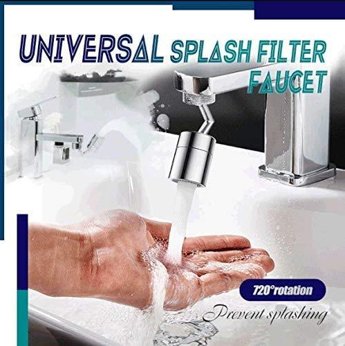 Aujelly Universeller Spritzfilter-Wasserhahn, 720 ° drehbarer Wasserhahn-Sprühkopf, Küchenarmatur-Belüfter, Küchenarmatur Großwinkel-Schwenkwaschbelüfter für Gesichtswäsche, Gurgeln (23,5-24 mm)