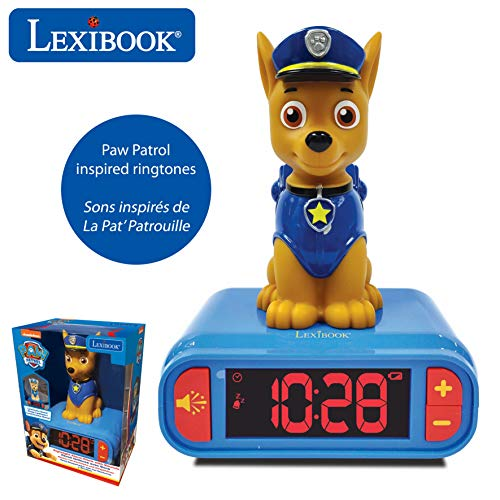 LEXIBOOK integrada-RL800PA Reloj Despertador La Patrulla Canina de Chase con Pantalla LCD Digital y luz de Noche integrada-Azul/Rojo, Color