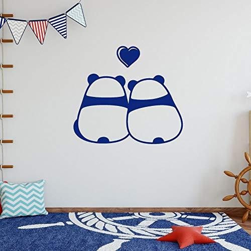 YuanMinglu Lindo Panda Pareja Animal Sentado Pared Artista Dormitorio y Tienda decoración de la habitación 91x80cm