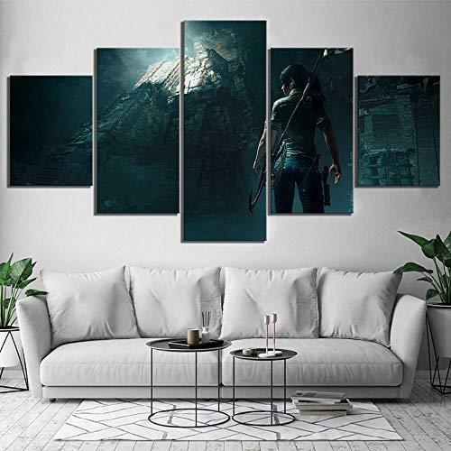 LAKHAFZY Leinwandbild 5 Druckt Schatten der Tomb Raider Gemälde Nacht Hintergrund Leinwand Poster Wandkunst Rahmen