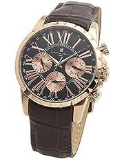 [サルバトーレマーラ] マルチカレンダーウォッチ メンズ ブラック 腕時計 クォーツ 革ベルト 時計クロス付き