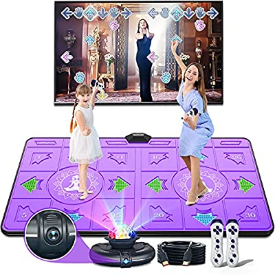 Electronic Dance Mats,Dance Mat Double Game for Kids and Adults with Massage Button,Indoor Portable Musical Dancing Mat with 100 Plus Games and Disco Ball Host for HDMI TV (Purple) from BLAVOR