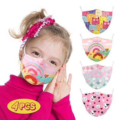 4PCS Washable Kids Cloth Masks Comfortable Cloth Kids Masks for Girls Breathable Softy Girls Mask Cute Girls Mask with Elastic Earloops