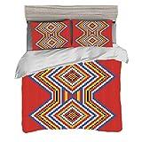 Funda nórdica Tamaño doble (150 x 200 cm) con 2 fundas de almohada Conjunto nativo americano Juegos de cama de microfibra Patrón de mosaico azteca estilo nativo americano tradicional Imagen de símbolo