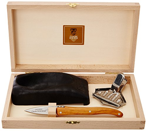 Laguiole Claude Dozorme, 2.60.062.89, Set da ostriche, manico in legno d'ulivo, Acciaio/Legno (Stahl/Holz)
