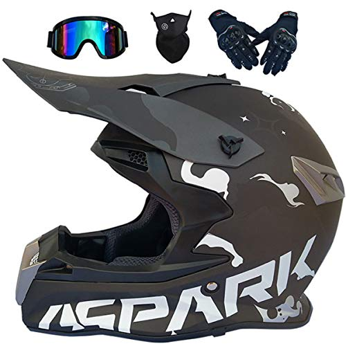 LCRAKON Casco Moto Niño 5-16 Años MJH-02 Negro Spark Cascos Motocross Integral...
