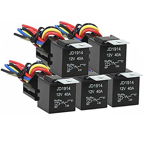 Datauya 12V 30/40 AMP 5-Pin SPDT Relés automotrices Relés eléctricos interruptores sin arnés de cableado Cambiar Partes