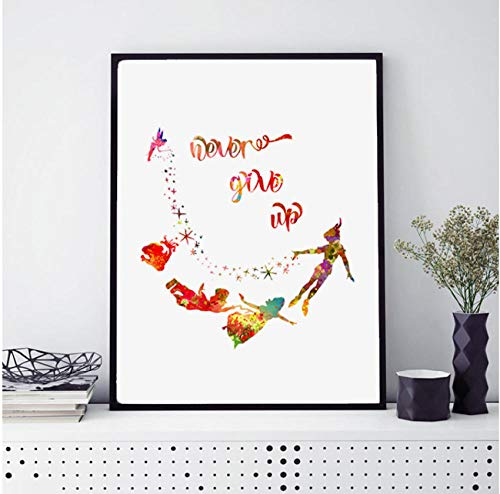 Never Grow Up Art Print Nursery Watercolor Painting Peter Pan Quotes Movie Baby Decor Wall Art Poster 50x70cm geen frame
