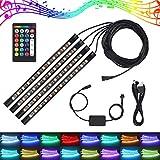 Justech 4X12LED Luz Interior del Coche RGB 16 Colores Impermeable Tira de Luz 5050 Activada por Sonido LED de Decorativa para Coche con 24 Teclas Controlador RF y USB Cable