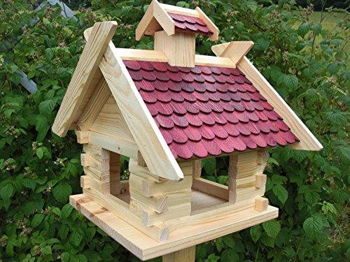 Vogelhaus mit Ständer-XXXL Rot (V06+S1)-Vogelhäuser Vogelfutterhaus Vogelhäuschen-aus Holz- Schreinerarbeit - 2