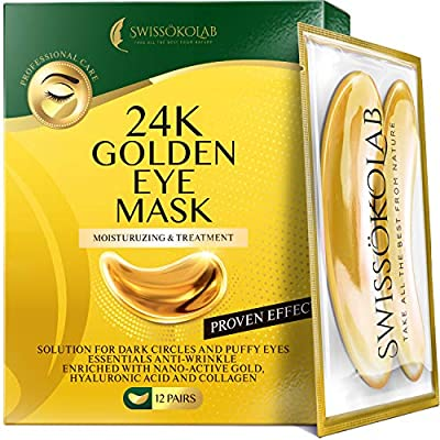Under Eye Patches For Puffy Eyes 24k Gold Eye Mask For Dark Circles And Puffiness Collagen Eye Gel Pads Moisturizing & Reducing Wrinkles Anti-Aging Hyaluronic Acid