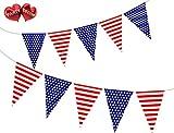 Party Decor Wimpelkette mit 15 USA-Flaggen mit Sternen & Streifen für eine garantiert stilvolle Party-Dekoration