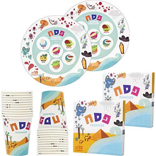 Passover Disposable Seder Plate Set - Ten Plagues Design - 9' Plates, Cups, and Napkins, 36 Piece Set, Serves 12 People