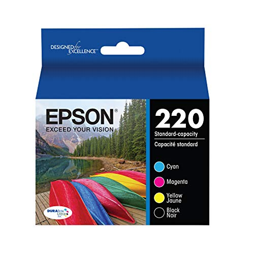 Epson T220120-BCS DURABrite Ultra Black & Color Combo Pack Standard Capacity Cartridge Ink (WF-2760, WF-2750, WF-2660, WF-2650, WF-2630, XP-424, XP-420, XP-320),Black and Color Combo Pack