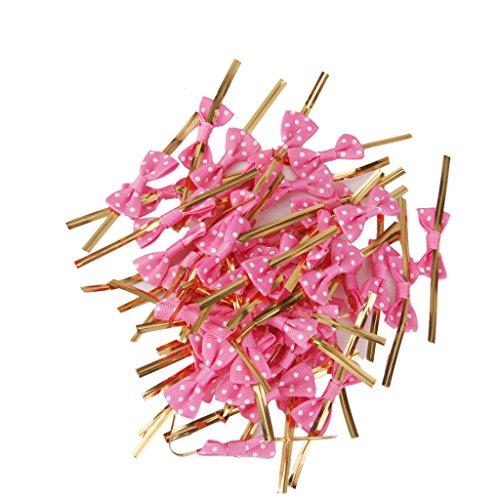 50pcs Attache Métallique Lien Torsadé pour Emballage de Sac de Bonbons Décoration de Biscuits (Rose Rouge)