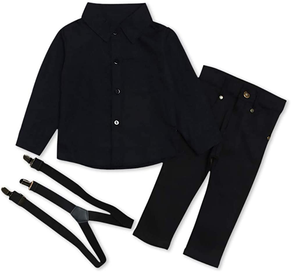 Portland Mall Kids Baby Free shipping anywhere in the nation Boys Formal Casual Shirt+Suspe Suit Button Long Sleeve