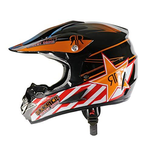 QLIGHA Extreme Sport Casques De Moto Protection De La Tête Course De Cross Pays Casque De Sécurité Adulte (S-XL),Orange,L