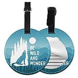 Be Wild and Wonder - Juego de etiquetas para maleta de piel personalizada, accesorios de viaje, etiquetas redondas para equipaje Negro Negro 2 PC