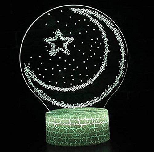 GDEVNSL Luces de Ramadán de acrílico 3D de Luna de Alto Rendimiento, Luces de Noche Decorativas de Ramadán de Eid Mubarak musulmán islámico LED de cabecera de Dormitorio, decoración de Vacaciones
