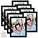 Sindcom 8x10 Picture Frame with High Definition Glass, Display Pictures 5x7 with Mat or 8x10 Without Mat,Black Wood Textured Photo Frames Collage for Wall or Tabletop Display, Set of 8