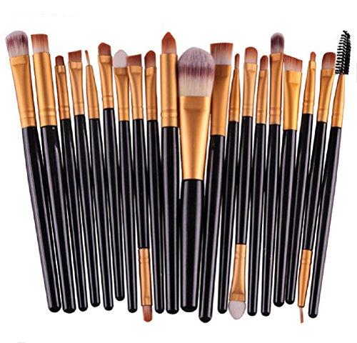 MELADY20pcs Multi-function Black+Gold Pro Cosmetic Powder Foundation Eyeshadow Eyeliner Lip Makeup Brushes Sets by MELADY