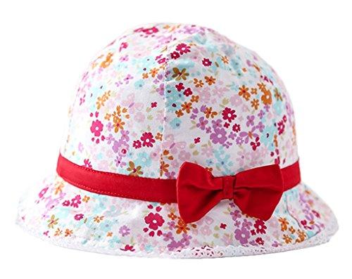 Bigood Chapeau Bébé Fille Coton Bonnet de Soleil Plage Voyage Fleur Nœud Papillon Eté Tour de Tête 52cm