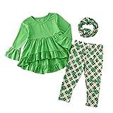 Niños Niñas Trajes de verano, Niños pequeños Niños Niñas St.Patrick's Day Tops Pantalones a cuadros Bufanda 3PCS Outits Set Verde 4-5 años, Baby Easter Outfit